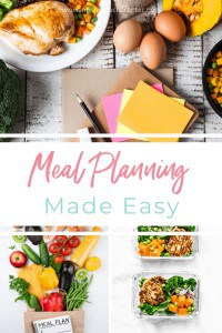 A collage of images of meal planning