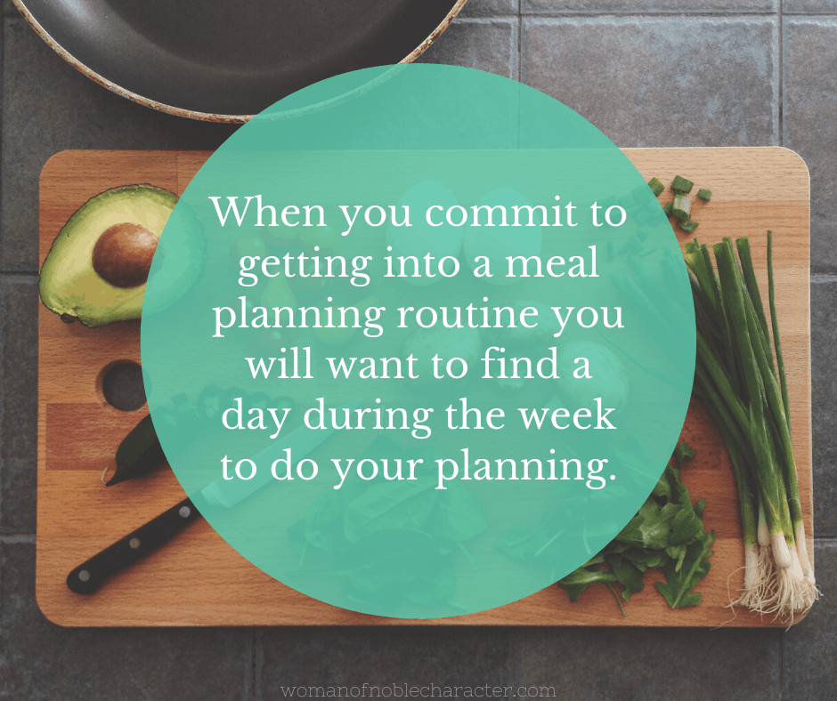 Meal planning quote over a cutting board with vegetables
