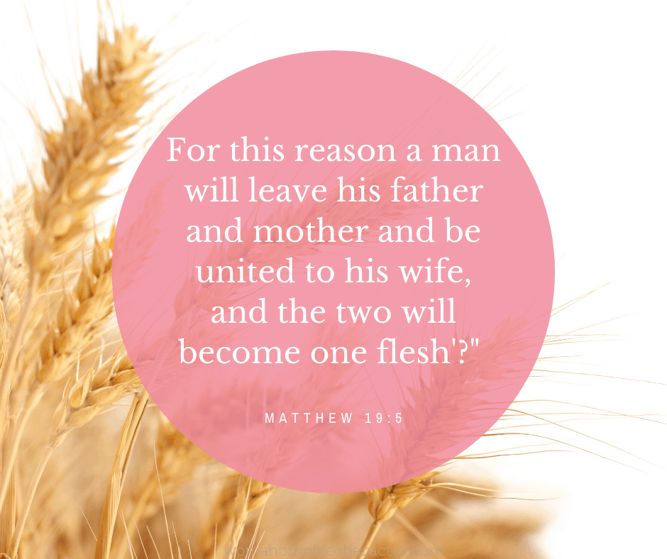 An image of wheat with Matthew 19:5 quoted