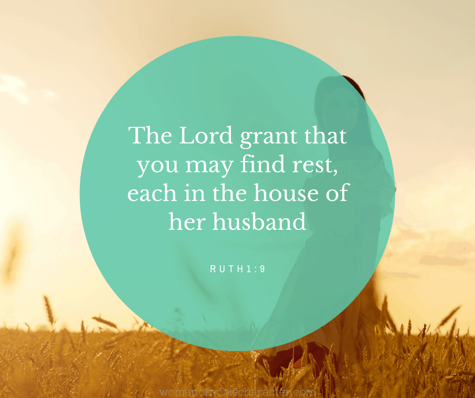A woman walking in a wheat field with Ruth 1:9 quoted