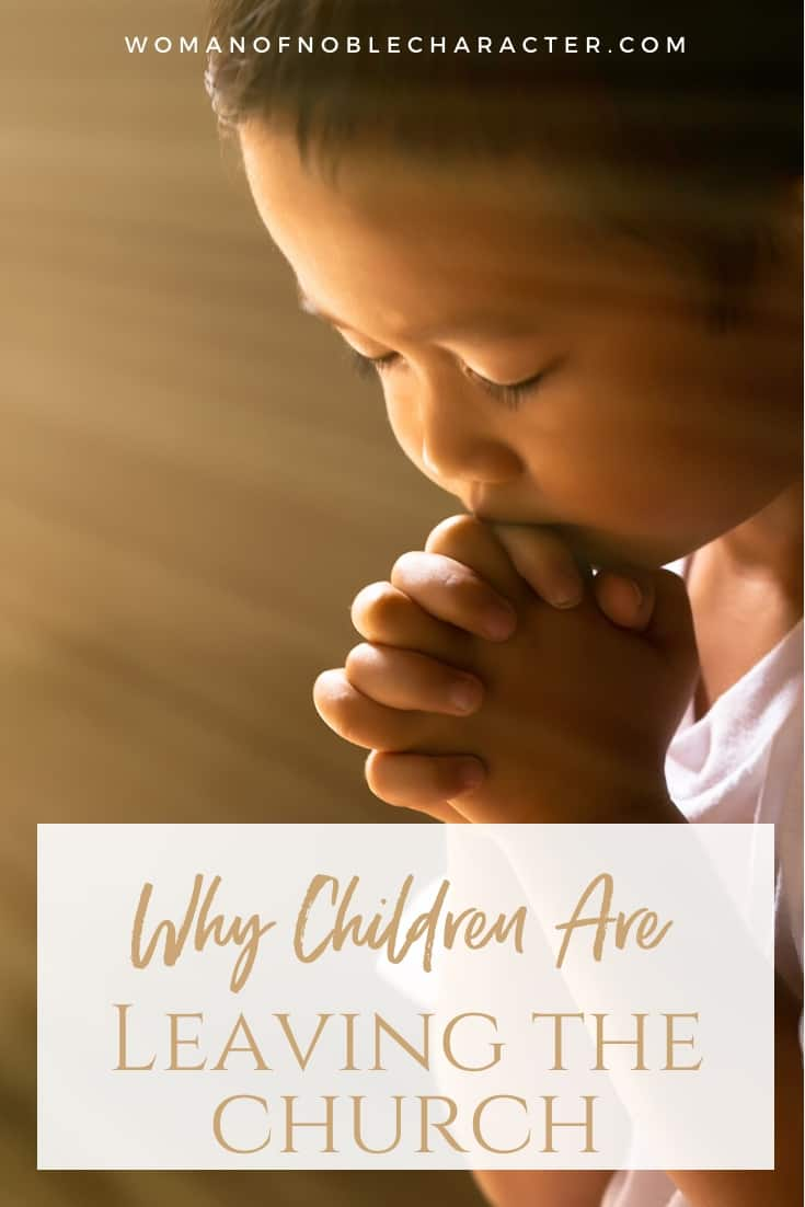 An image of a young boy closing his eyes and praying with an overlay of text saying, 'Why Children Are Leaving the Church