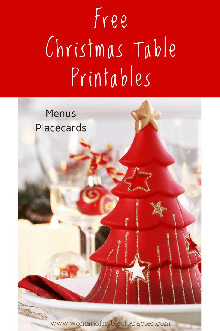 Free Christmas Table Printables