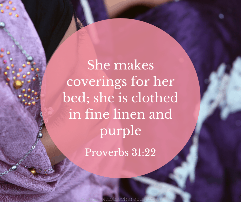 A woman in purple and Proverbs 31:22 quoted