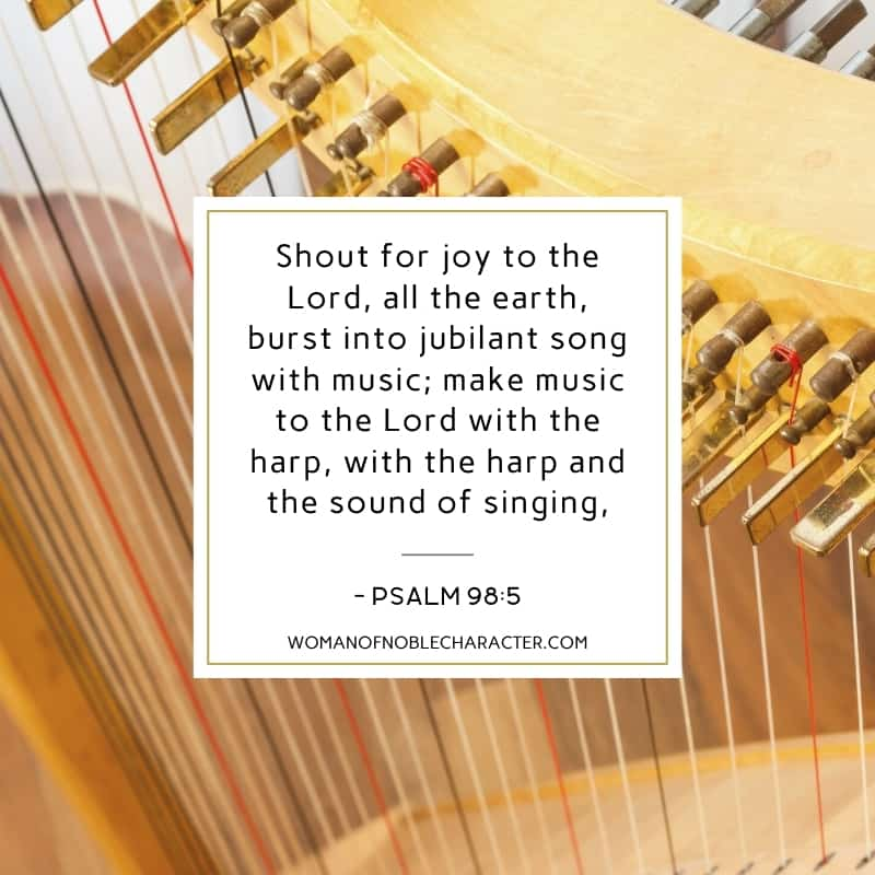 An image of a harp's string with the quote,