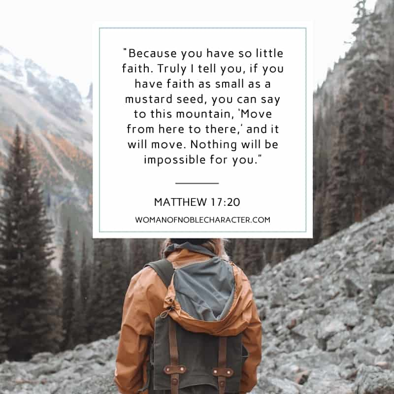 """An image of a person standing on a mountain looking out with the quote, """"Because you have so little faith. Truly I tell you, if you have faith as small as a mustard seed, you can say to this mountain, 'Move from here to there,' and it will move. Nothing will be impossible for you."""" from Matthew 17:20"""