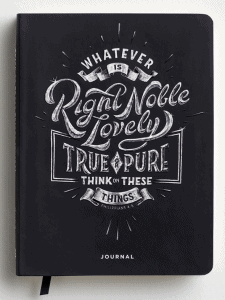 think on these things journal cover; Bible journaling tips