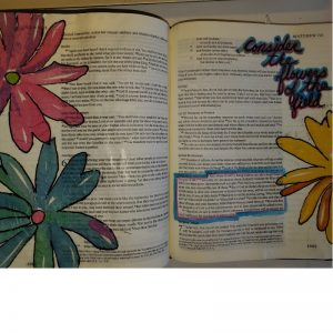 Bible journaling with household objects napkin decoupage flowers