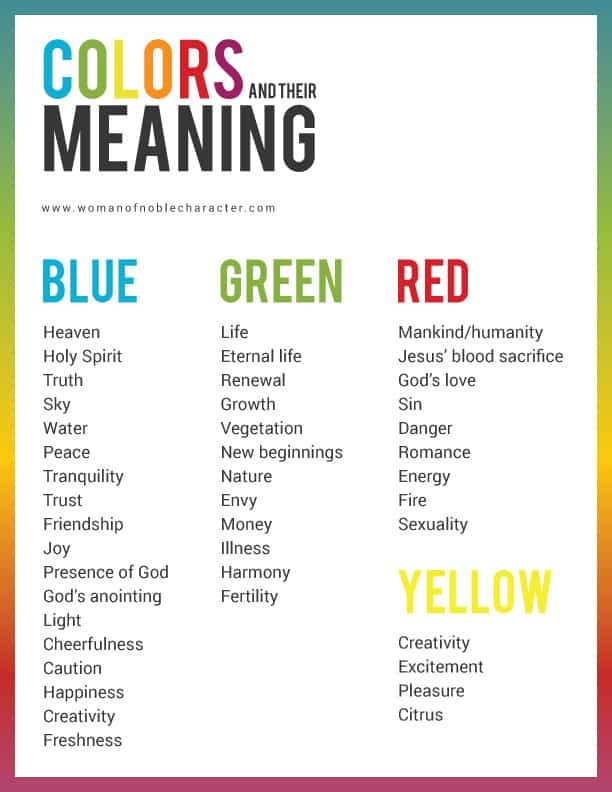 Colors and their meanings for Bible journaling