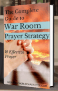 image of ebook cover with praying hands with text overlay the complete guide to war room prayer strategy and effective prayer