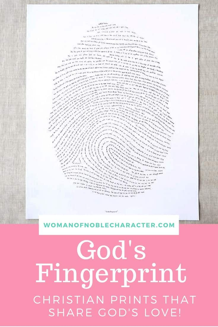 God's Fingerprint - An image of the Gods Fingerprint print which is a big fingerprint made up of one verse from every book of the Bible