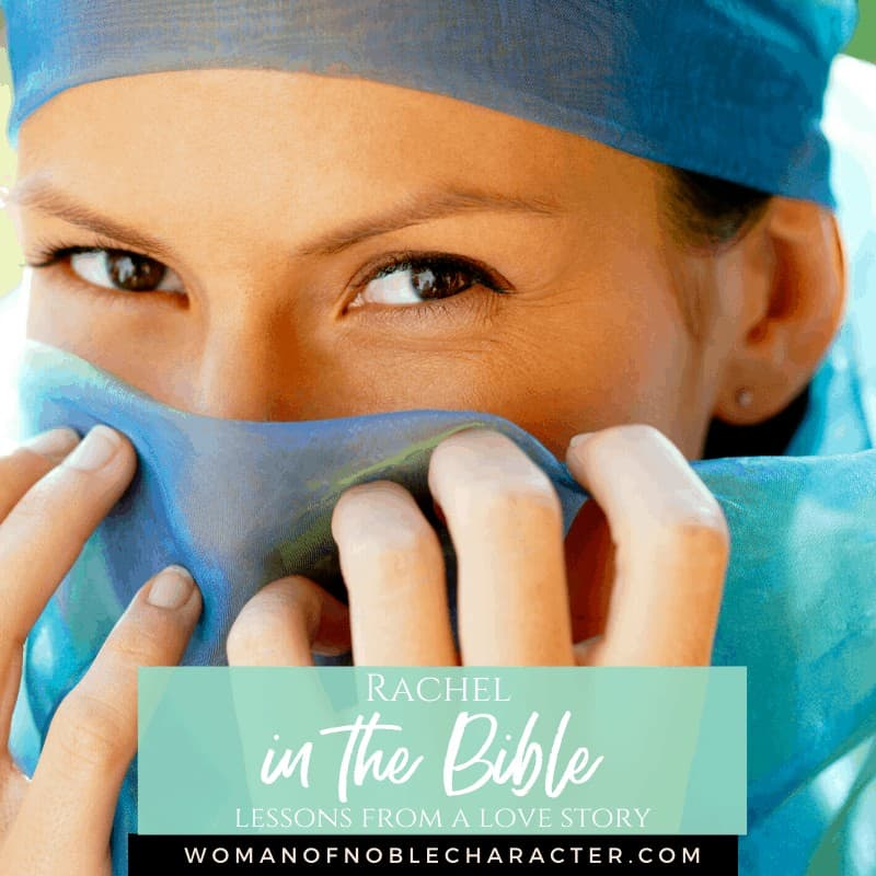 Rachel in the Bible - A beautiful woman behind a blue veil with