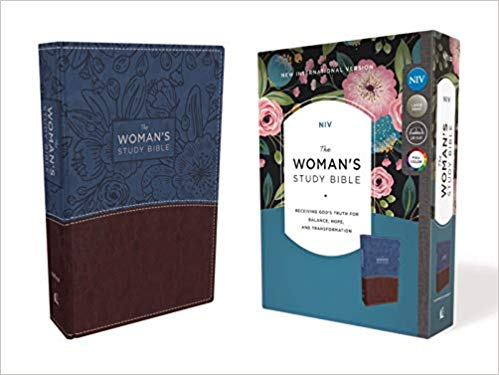 NIV, The Woman's Study Bible, Leathersoft, Blue/Brown, Full-Color, Red Letter: Receiving God's Truth for Balance, Hope, and Transformation