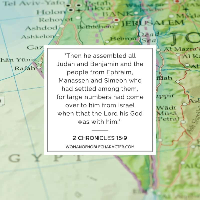 An image of a map of Israel with a text overlay with 2 Chronicles 15:9 quoted