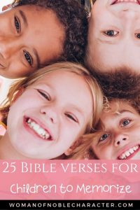 Children in a circle looking down at the camera - Bible Verses for Children to Memorize