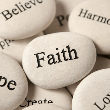 Rocks with wording on them and the word Faith as prominent
