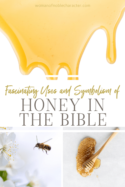 a collage of images of honey and honeycomb - Honey in the Bible