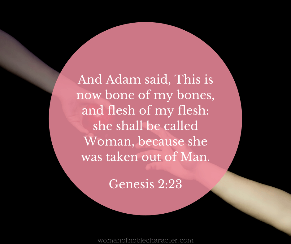 Adam and Eve touching fingers and Genesis 2:23 quoted