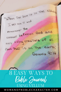 An image of a Bible journal page with vellum - 5 Easy Ways to Bible Journal With Vellum