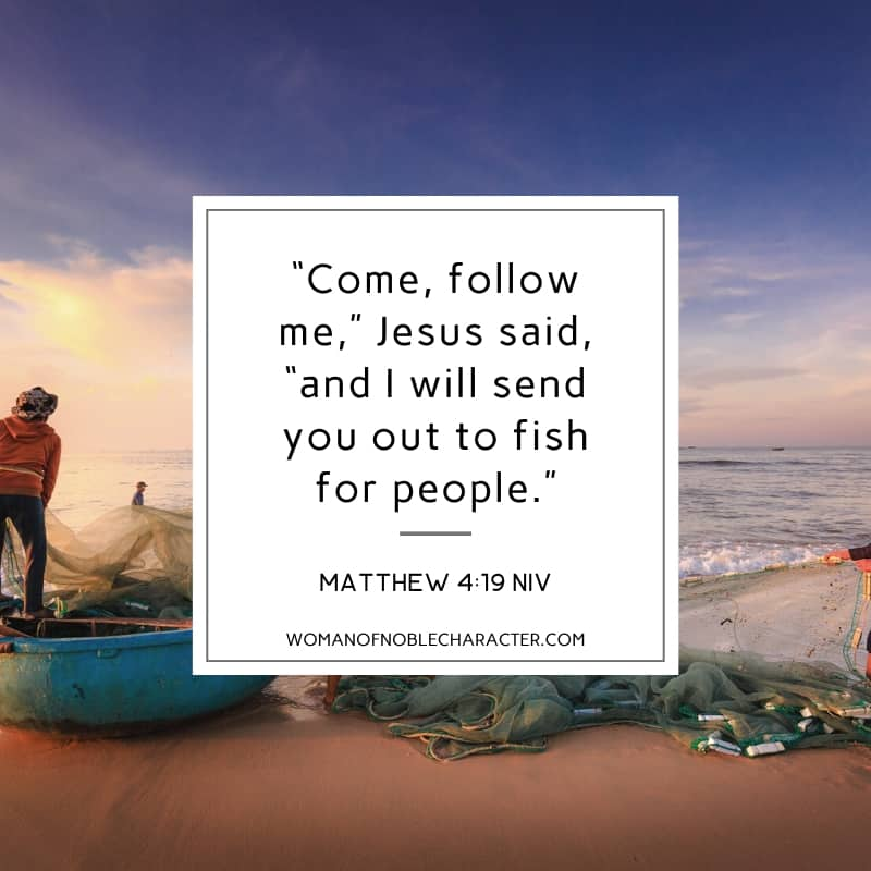 image of fishermen on the shoreline and Matthew 4:19 quoted - Fish in the Bible