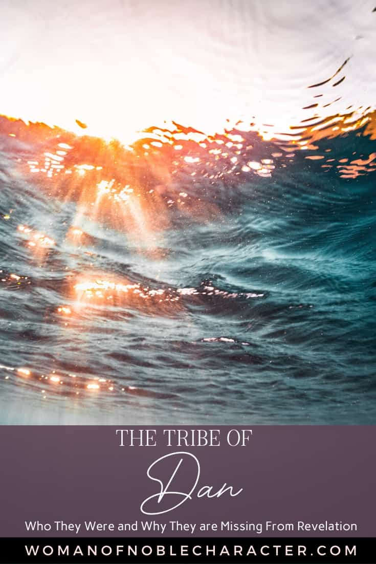 An image of an ocean wave over us and text that says The Tribe of Dan: Who They Were and Why They Are Missing From Revelation - text is overlayed on a purple background on the lower part of the image