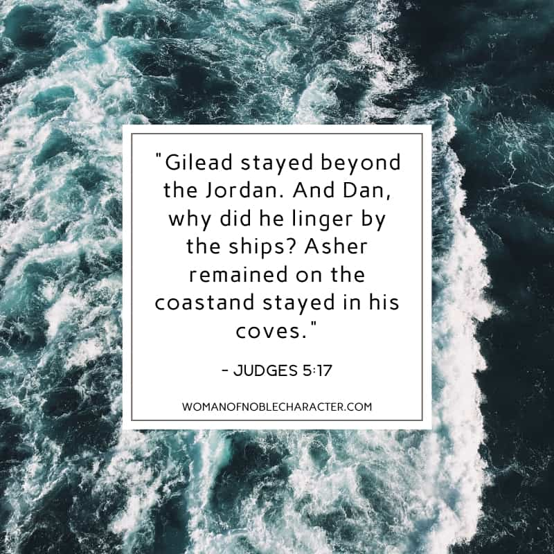 An image of the ocean and Judges 5:17 quoted