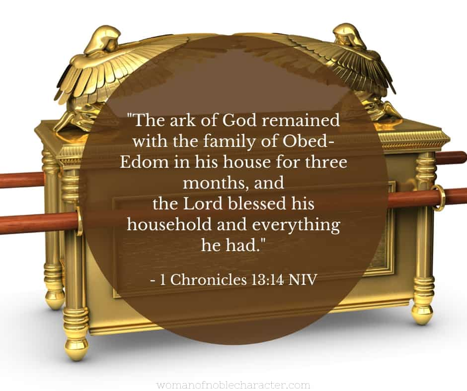 An image of the ark of the covenant with 1 Chronicles 13:14 quoted