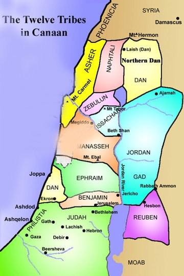tribes of Israel map, tribe of Gad territory