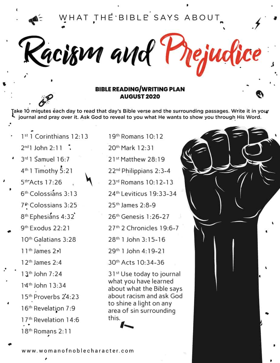 what the Bible says about racism and prejudice August 2020 Bible reading plan
