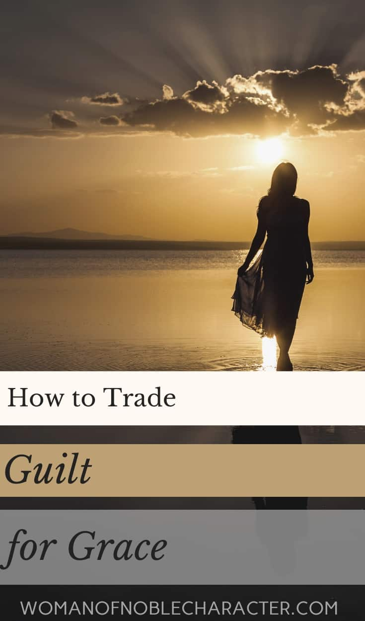 A woman walking on the beach at sunset with golden hues and a text overlay that says A woman with her dark hair pulled back in a ponytail and her head in her hands covering her eyes and a text overlay that says How To Trade Guilt For Grace