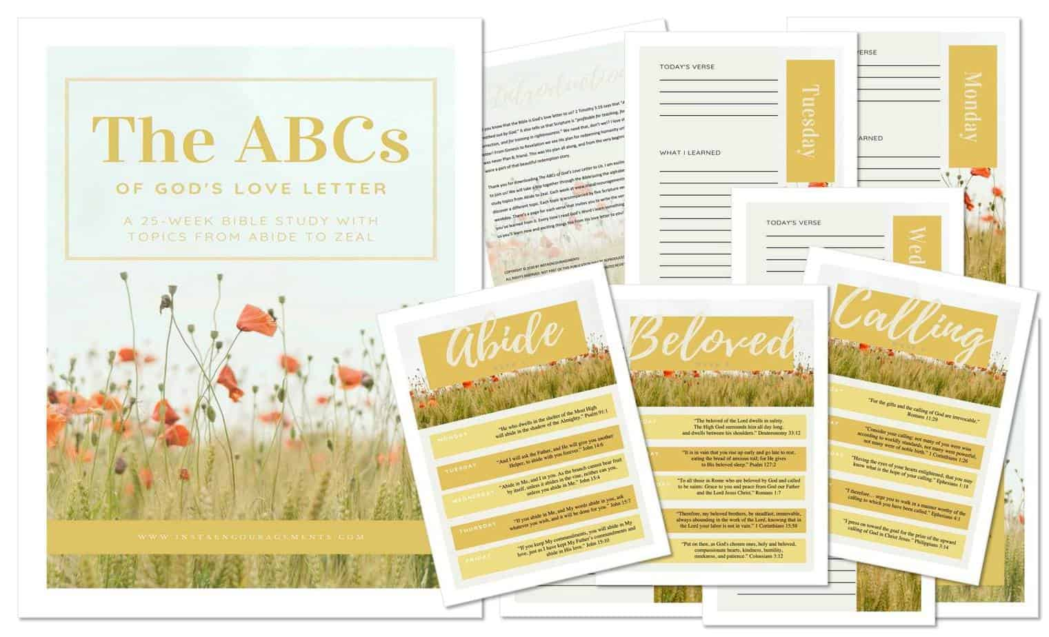 An image of printables from ABCs of Gods Love Letter