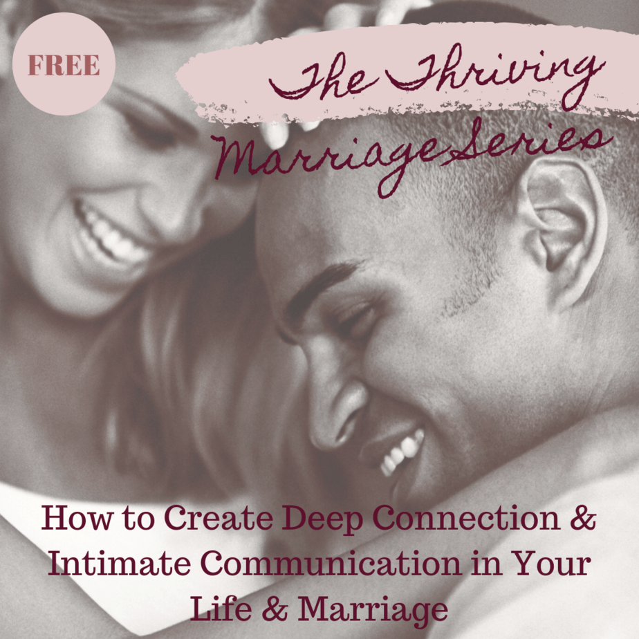 An image of an African American couple cuddling and The Thriving Marriage Series advertised on the image