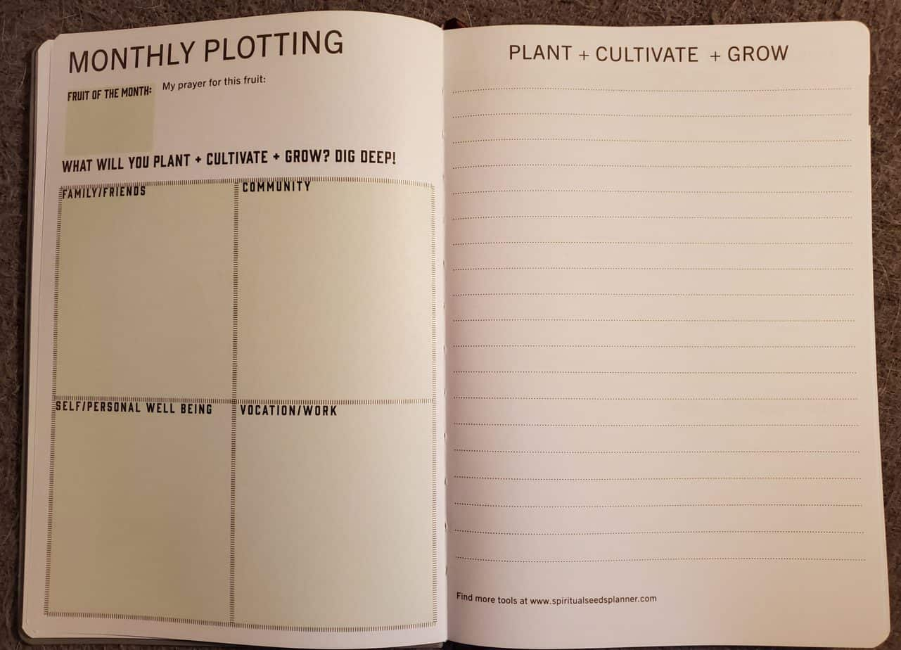 spiritual seeds Christian planner monthly plotting