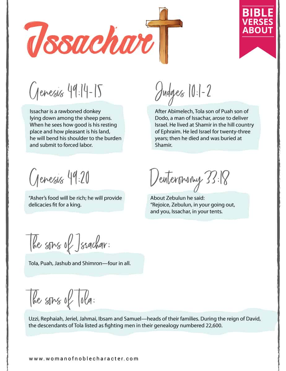 Bible verses about the tribe of Issachar