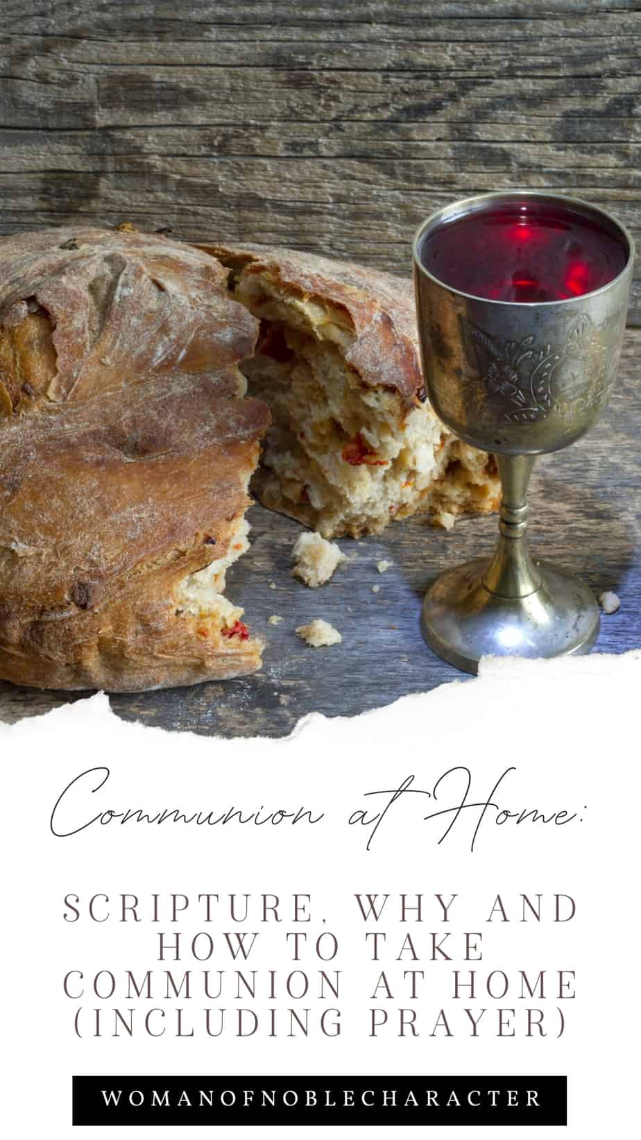 An image of bread and wine with an overlay of text that says,