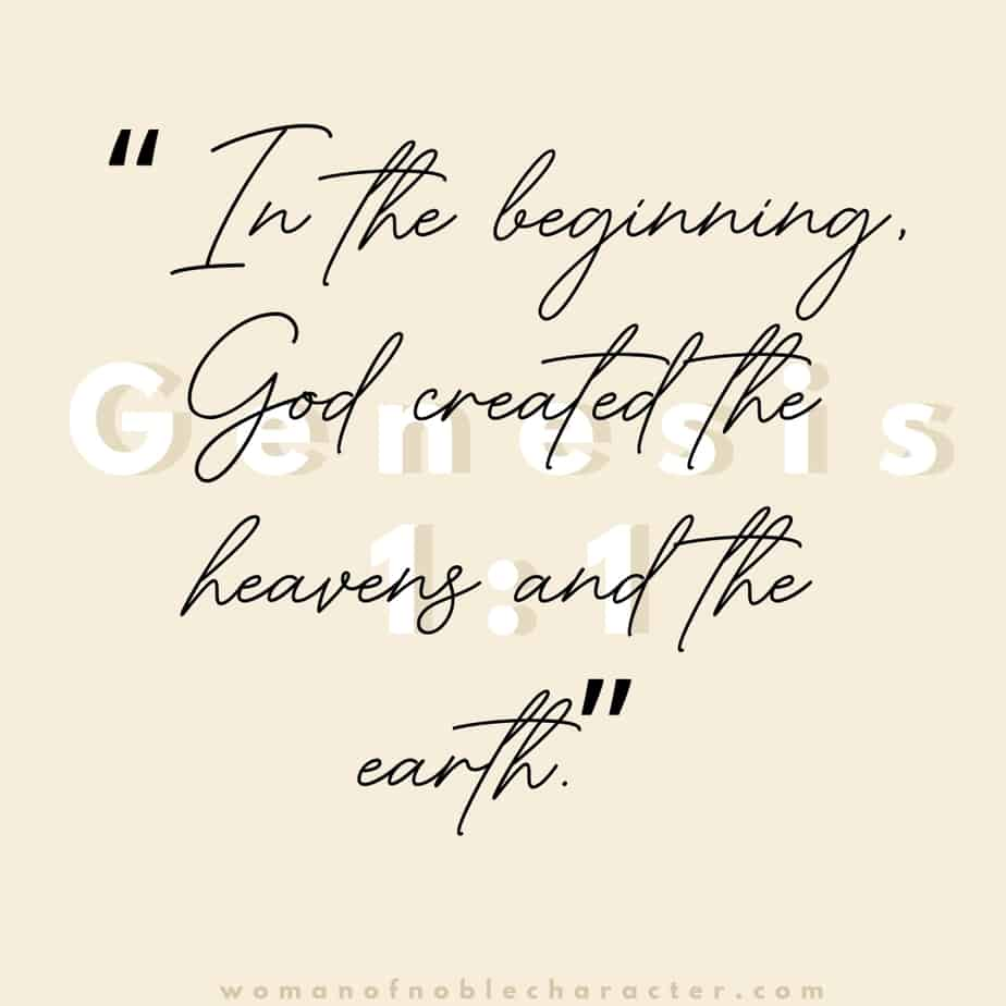 "A blank light pink background with the quote. """"In the beginning, God created the heavens and the earth."" from Genesis 1:1"