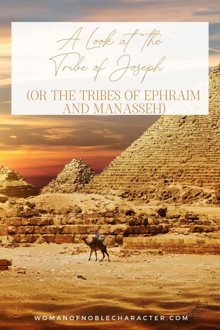 """An image of one big pyramid and a few smaller ones with the title that says, """"A Look atAn image of multiple colorful coats with an overlay of text that says, """"Looking at the Interesting Tribe of Joseph (or is it the Tribes of Ephraim and Manasseh)?"""""""