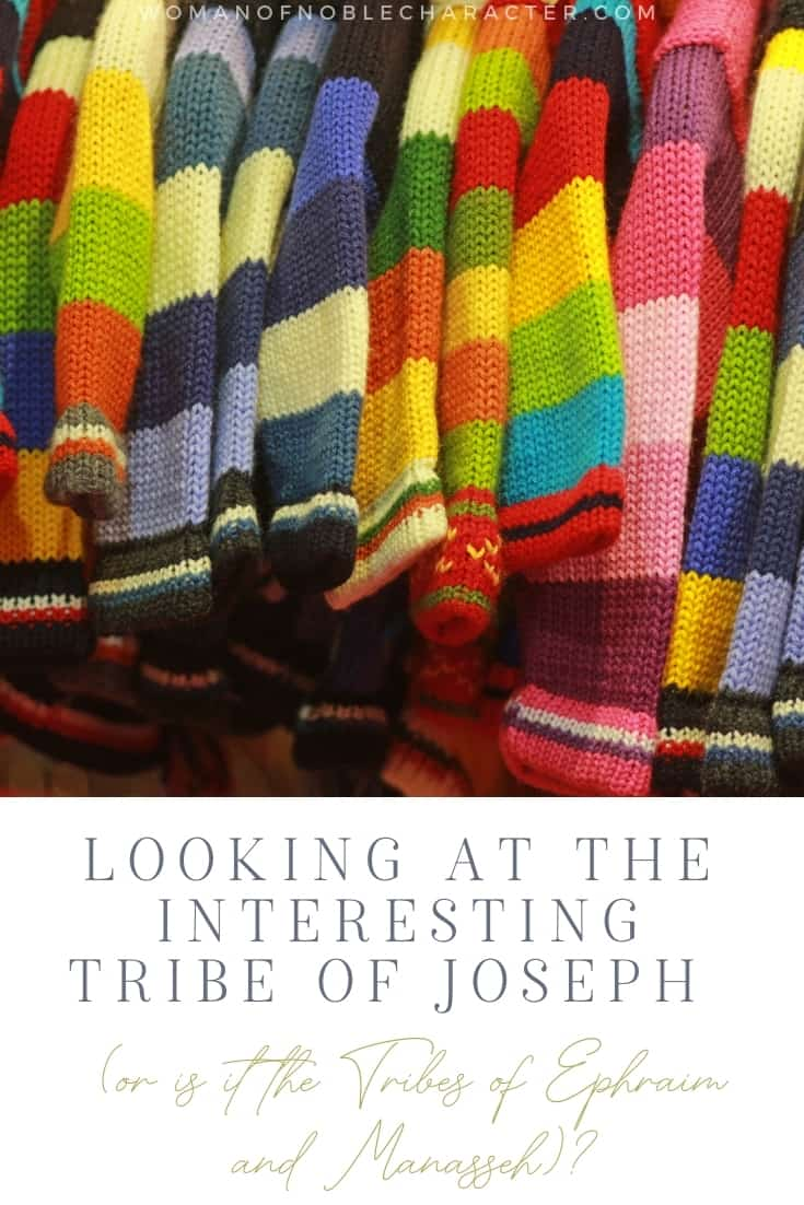 """An image of multiple colorful coats with an overlay of text that says, """"Looking at the Interesting Tribe of Joseph (or is it the Tribes of Ephraim and Manasseh)?"""""""