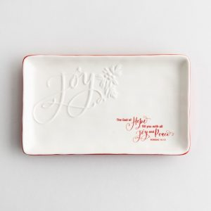 joy Christmas serving tray