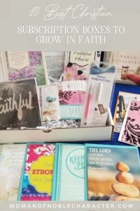 "An image of a Christian subscription box with the title, ""10 Best Christian Subscription Boxes to Grow in Faith"""