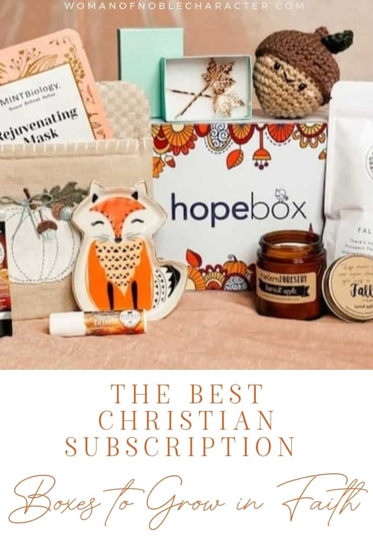 "An image of a Christian subscription box with the title, ""the Best Christian Subscription Boxes to Grow in Faith"""