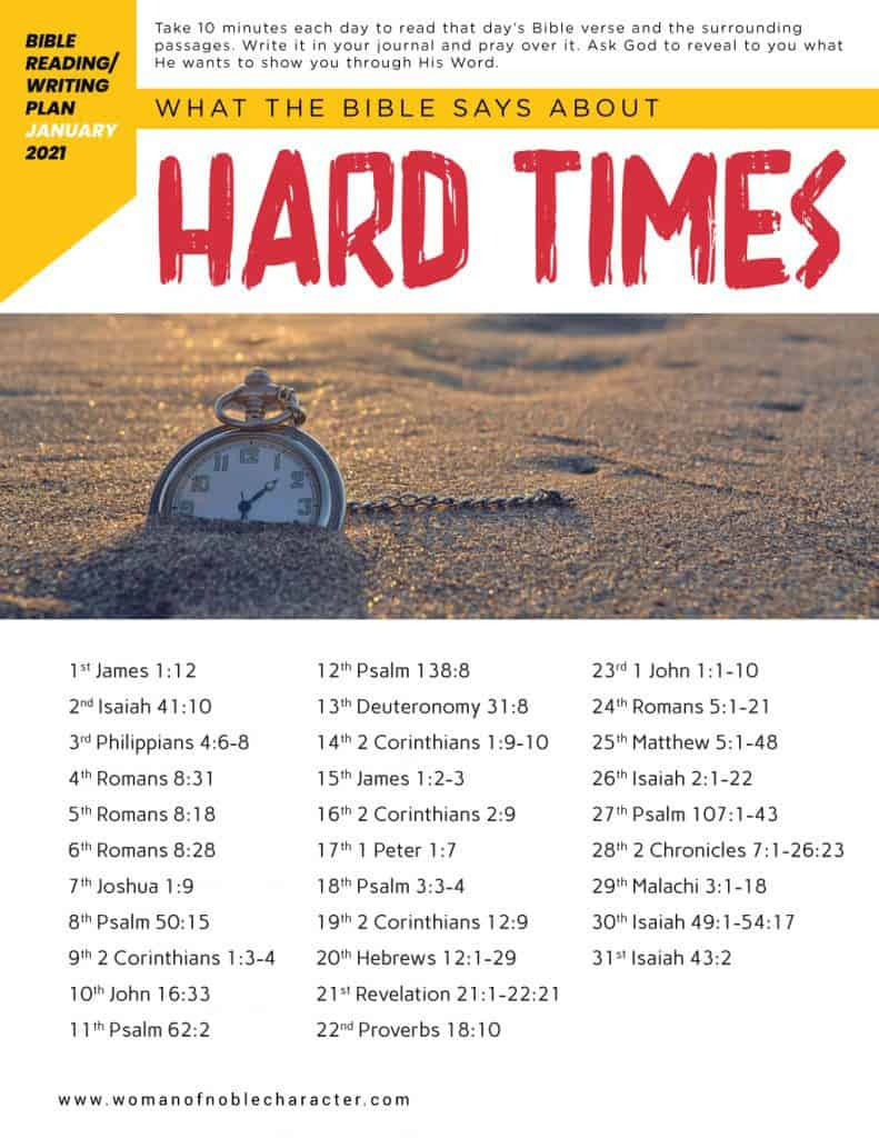What the Bible says about hard times; January Bible reading plan