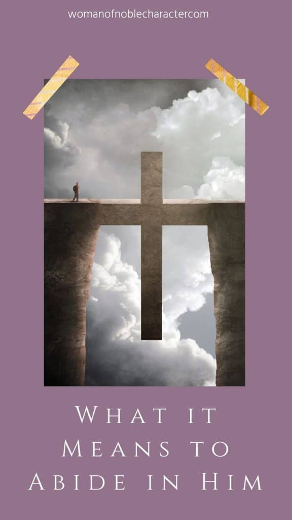 two mountain cliff with cross in between and man about to walk over; abiding in Jesus