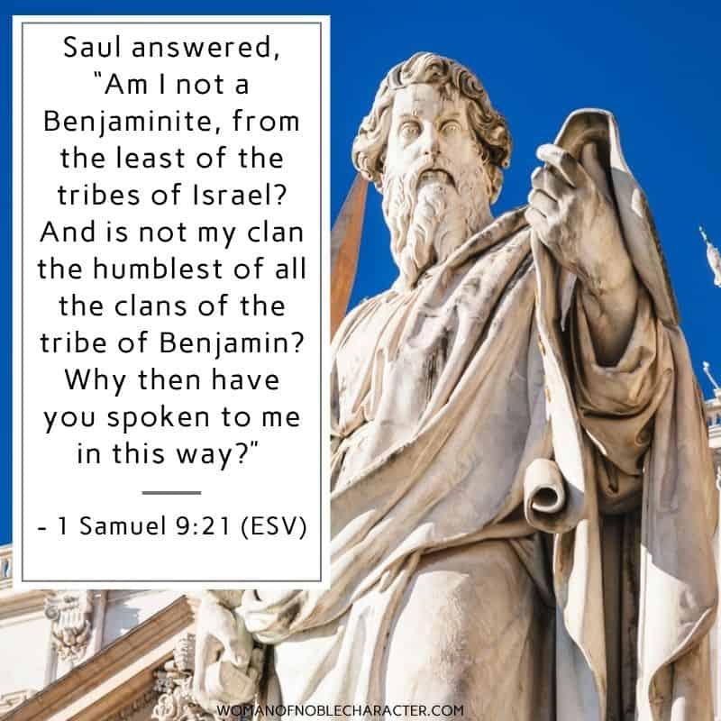 Apostle Paul statue; Tribe of Benjamin 1 Samuel 9:21