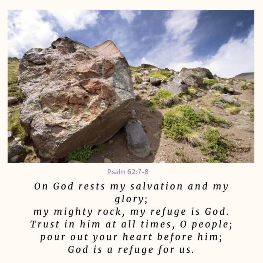 large boulder, God is our strength; Psalm 62:708