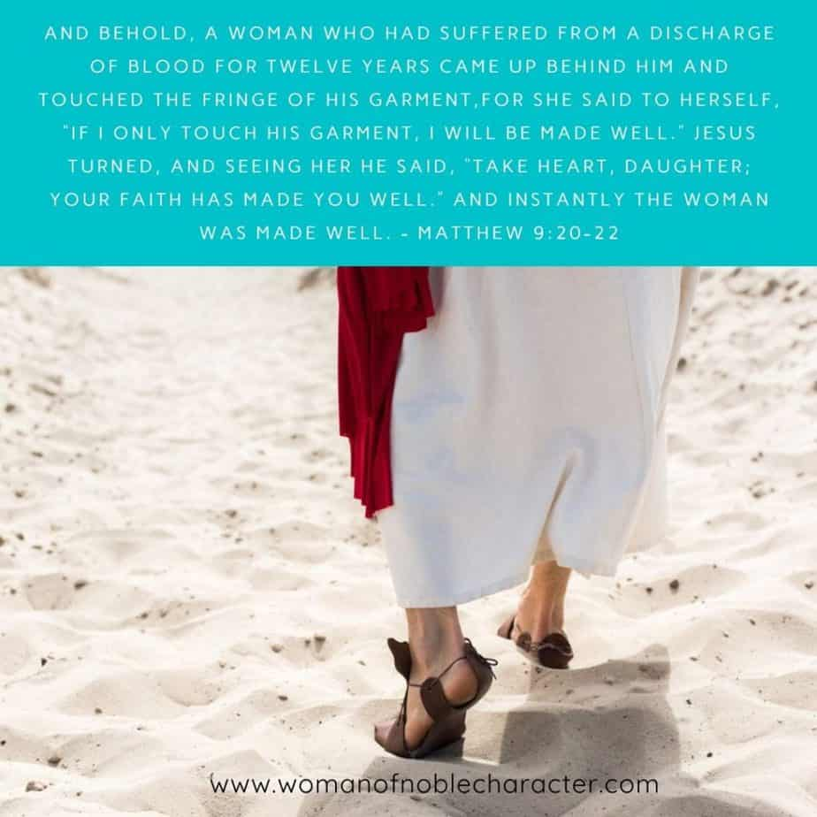 Jesus walking in sand, Matthew 9:20-22; God and cancer