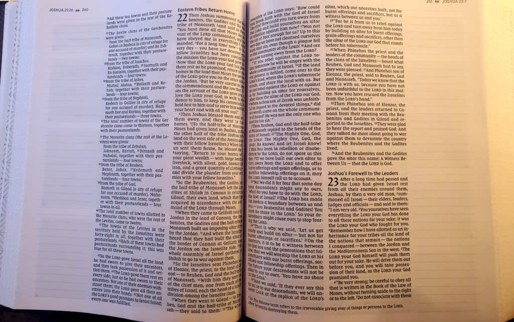 Scripture two page with lined margins