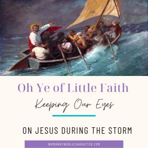 Jesus calms storm in boat; oh you of little faith