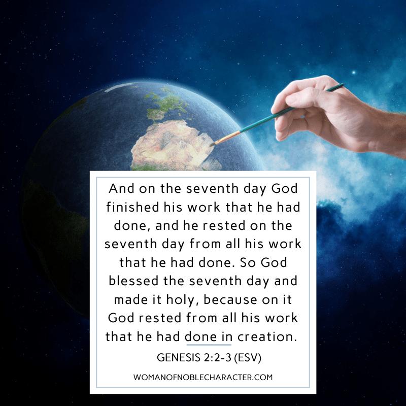 creation of earth; observe the sabbath