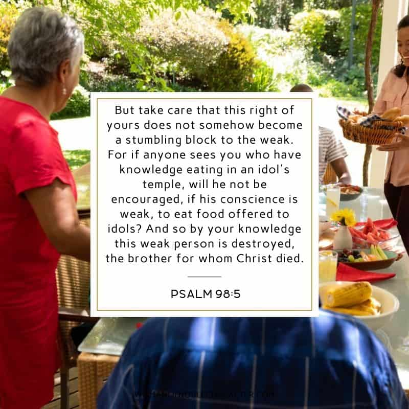 multi-ethnic family serving food; do everything for God's glory