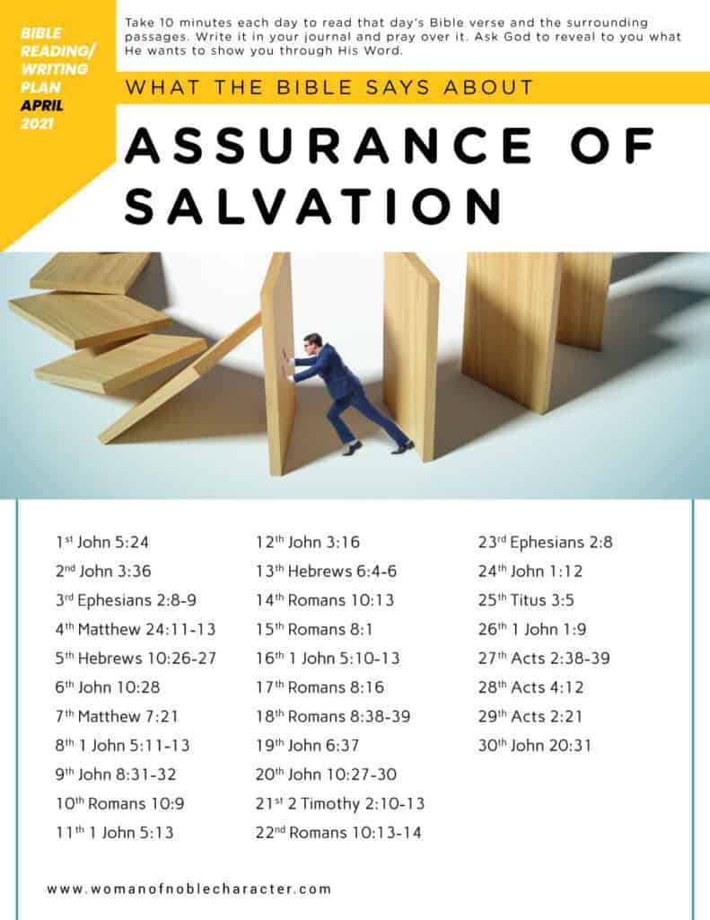 man pushing against blocks; what the Bible says about our assurance of Salvation; Bible reading plans